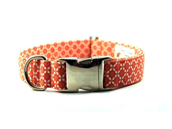 Coral Posies Fabric Dog Collar - Plastic Buckle