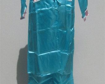 NIB Vintage 1950's 4pc Embroidered Blue Silk Pajamas & Slippers in Travel Case