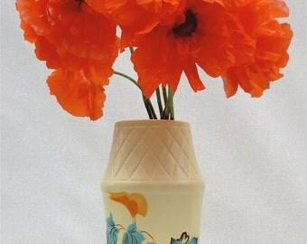 """Vintage 1940's ELLGREAVE """"Topaz"""" Ceramic Flower Vase Made in England - Large"""