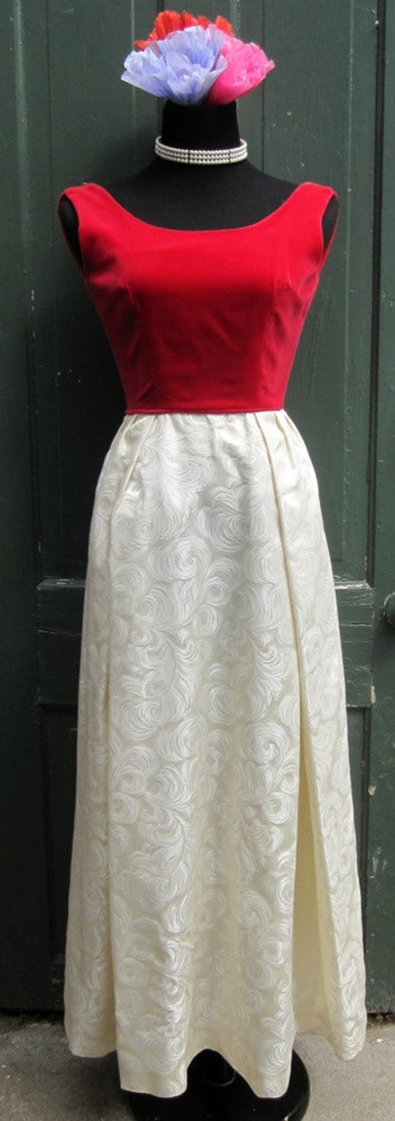 Vintage '60's Red Velvet and White Satin Brocade Maxi Christmas Dress or Evening Gown -small