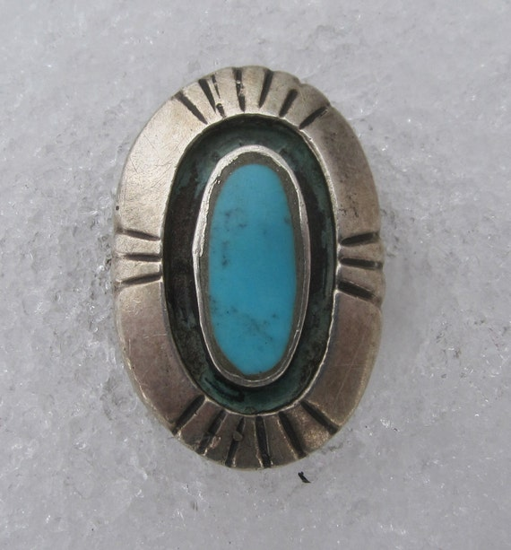 Vintage Sterling Silver and Turquoise Ring - Southwestern Native American Unmarked