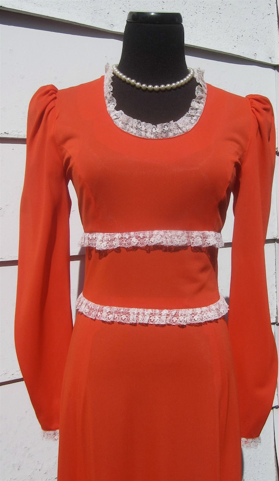 Vintage 1970's Long & Luscious Orange Maxi Dress Gown That Glides With Every Movement