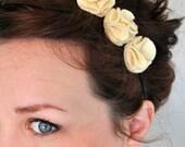Cream Flower Ruffle Headband - Off White Felt Floral Headpiece - Beige Flower Statement Headband