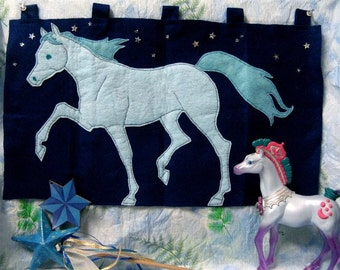 Sparkle HORSE TAPESTRY - Felt Wall Hanging Sewn by Hand, Horses, Equines, 20 Inches Wide Wallhanging