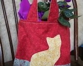 Kitty Cat Tote Bag with Yellow Applique Pockets Overnight Bag
