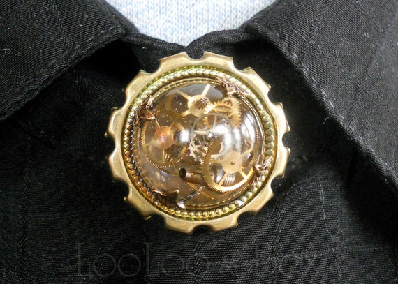 Steampunk Explosion Collar Button Cover Hand Cast Cabochon on Brass Gear Setting BC002 by Robin Delargy LooLoo's Box Handcrafted Jewelry