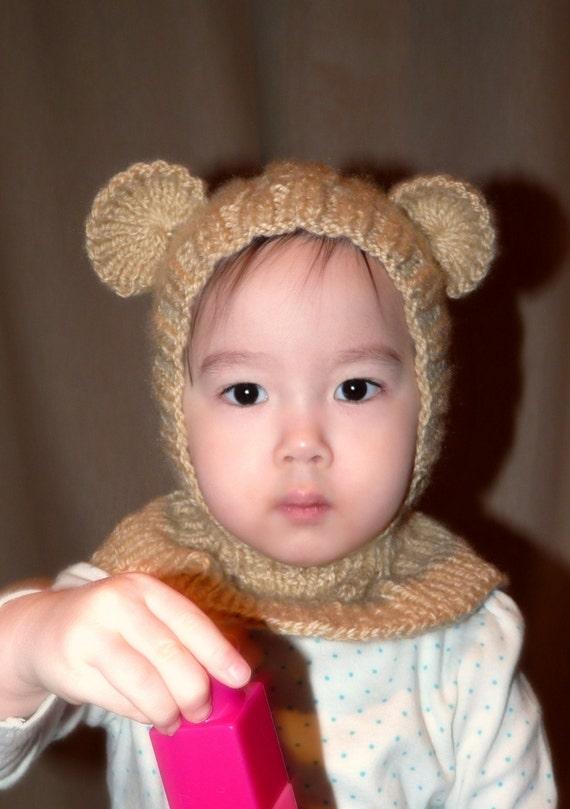 6-12 months Vanilla Bear coverall hat