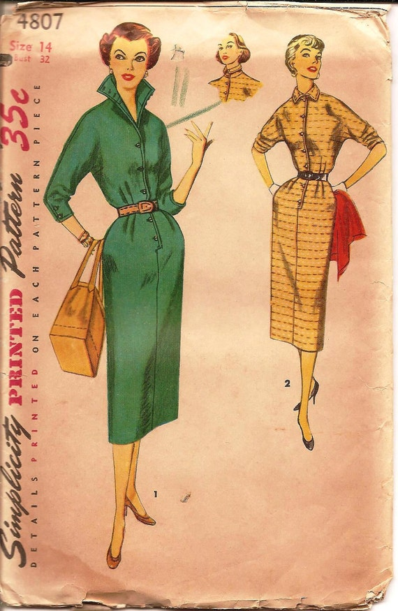 1950s Slim Dress with Stand Up Collar - Vintage Sewing Pattern Simplicity 4807 - 32 Bust UNCUT
