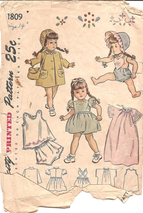 "1940s Doll Clothes - Simplicity 1809 Vintage Pattern - 14"" Doll"