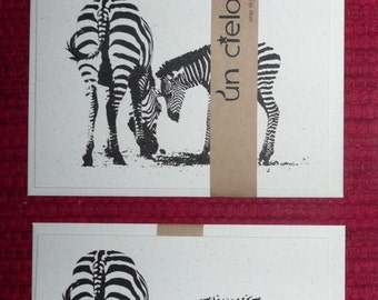 Mum and Baby Zebras - Recycled Paper Card