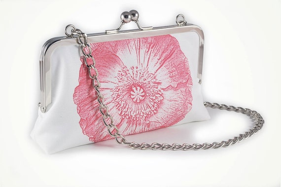 Pink poppy clutch with chain