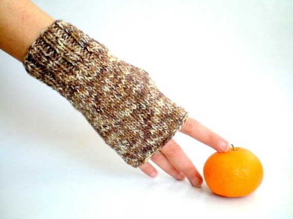 Tweed Brown Fingerless Gloves, Winter Gloves