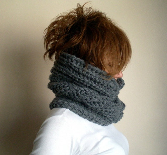 Chunky Hand Knitted Cowl Hood Scarf , Gray