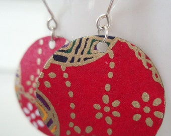 Small Red and Gold Origami Earrings