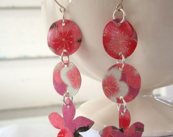 Pink and Watermelon Cherry Blossom Chandelier Earrings