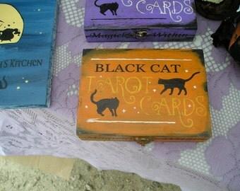 Tarot Card Box Holder/Playing Card Box Black Cat/Card Box/Halloween Decor/Game/Halloween Party/Black Cat