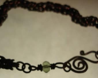 Byzantine Chain Maille Bracelet in Oxidized Copper and Green Chrysolite