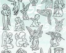 55 Angels Vector Clipart