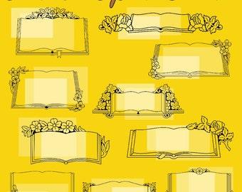 28 Ornate Open Books Vector Clipart