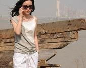 Spring Fresh Fashion/Asymmetric fight Color Cotton Vest