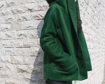 green cashmere overcoat wool jackets with large hood