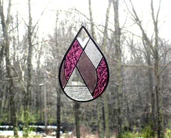 Raindrop suncatcher stained glass decorative art abstract magenta purple violet modern contemporary panel