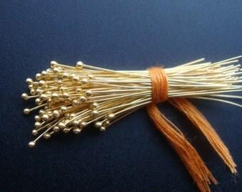 Bulk Sale - 100 pcs, 28 gauge ga g, 50mm 2 inch, Bali 24K Gold Vermeil Ball Headpins, Head pin