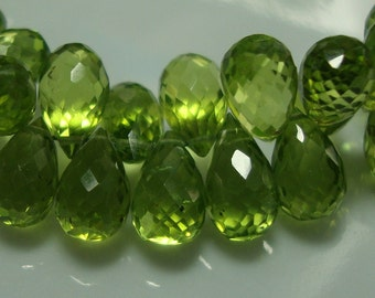 6 pcs, 9-8 mm, Wonderful Green Genuine Peridot Lovely Micro Faceted Teardrop Briolettes