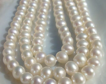 "8"" Strand, 5.5-6mm, 15% off sale, Lustrous Genuine Round Fresh Water Pearls, Creamy White Freshwater Pearl"