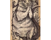 River Otter - Antique Style Print - 5 x 8