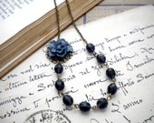 Flower Necklace One Strand Blue Glass Flower Cabochon Necklace Beadwork Necklace