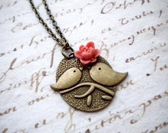 Bird Charm Necklace Sparrow Necklace Love Bird Necklace Kissing Birds Pendant Couple Bird Jewelry Nature Animal Necklace Bird Jewelry