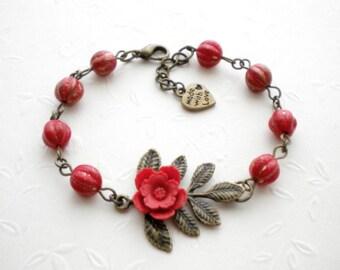 Red Bracelet Flower Bracelet Leaf Bracelet Red Flower Bracelet Cabochon Bracelet Romantic Bracelet Red Jewelry Red Beaded Bracelet