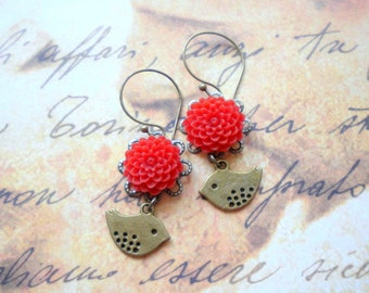 Red Earrings Flower Earrings Red Dangle Earrings Sparrow Earrings Red Chandelier Earrings Romantic Bird Dangle Earrings Bird Jewelry