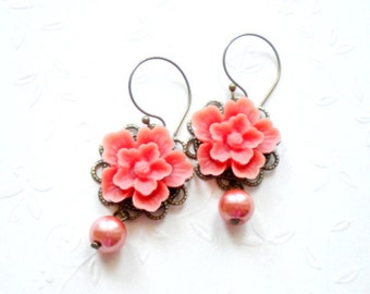 Flower Earrings Orange Bridesmaid Earrings Flower Chandelier Earrings Peach Pearl Earrings Flower Dangle Earrings Orange Wedding Jewelry