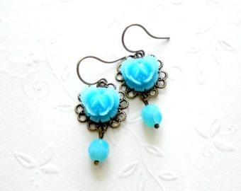 Turquoise Earrings Flower Earrings Turquoise Jewelry Flower Dangle Earrings Glass Aqua Earrings Turquoise Dangle Earrings Aqua Jewelry