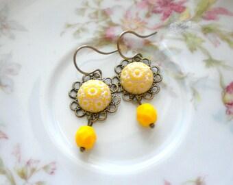 Flower Earrings Yellow Earrings Yellow Glass Earrings Flower Dangle Earrings Yellow Jewelry Summer Earrings Yellow Flower Earrings
