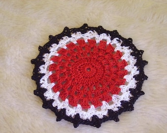 Doily crocheted in Red with Black and White Trim