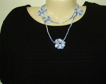 Necklace//Crocheted Chain with Flowers//Blue and white//Gift for her//gift for mom
