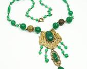 Art Deco Czech Jade Glass Gilt Necklace