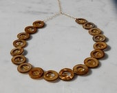 Mod Disc Necklace with Brown Shell and Amber Glass Crystal