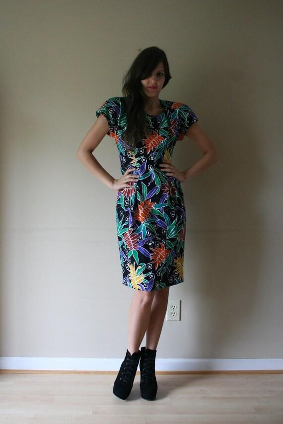 80s Does 40s Floral Dress NOS Bright Tropical Colors Cotton Cocktail Dress Shoulder Pads Size Medium med md (2-4-6)