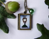 Wearable Art Jewelry Book Locket Whimsical  Girls Necklace