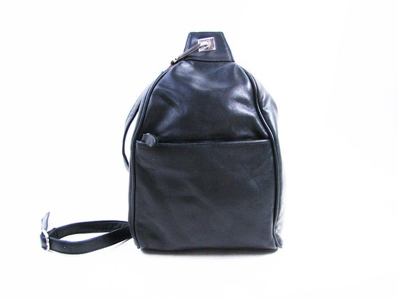 s a l e Vintage 90s Black Leather Cross Body Backpack // Small