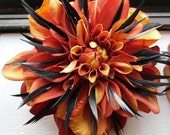 Large Spikey Feather Flower Head Piece Clip (FOR ONE)