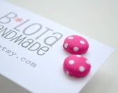 Fabric Button Earrings - Hot Pink Polka Dots