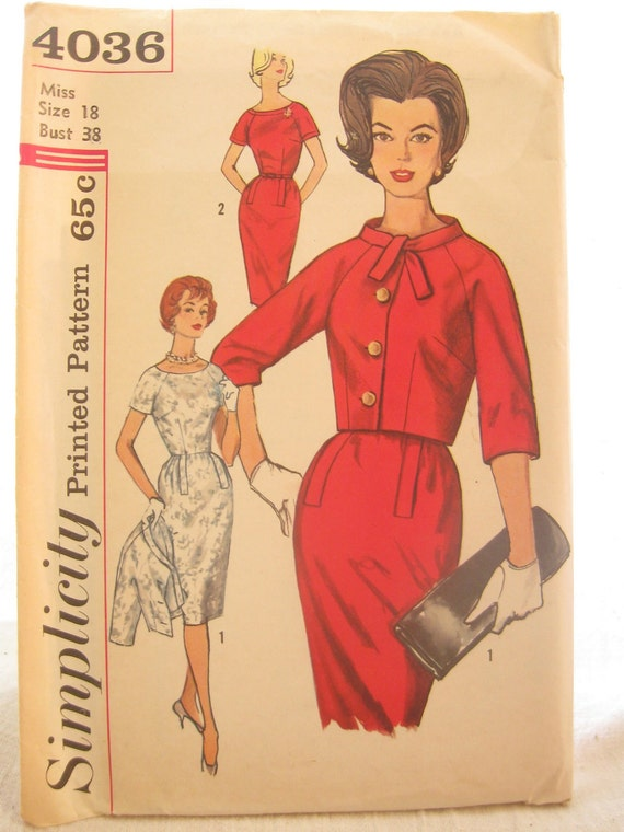 Simplicity 4036 1960s Dress and Boxy Jacket Vintage Sewing Pattern Bust 38 Mad Men Wiggle Dress