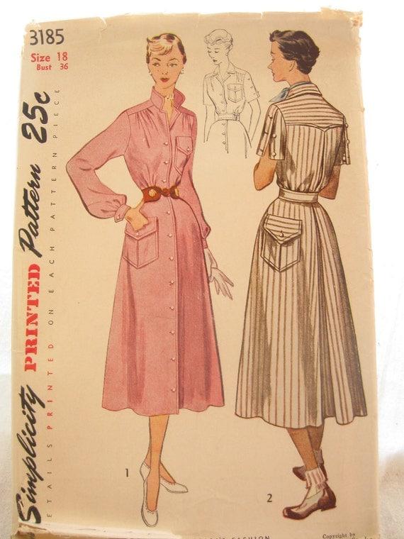 Simplicity 3185 1950s Western Button Front Shirt Dress Pattern Bust 36