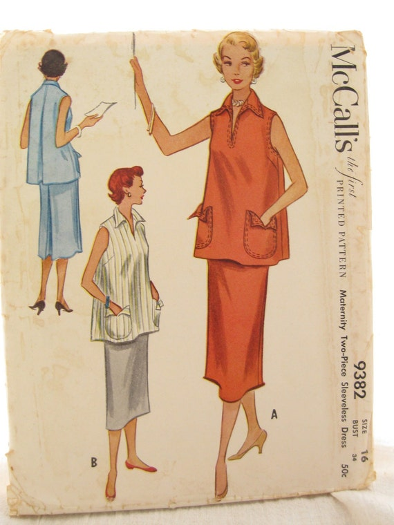 McCall's 9382 1950s Vintage Maternity Skirt and Top Sewing Pattern Bust 34