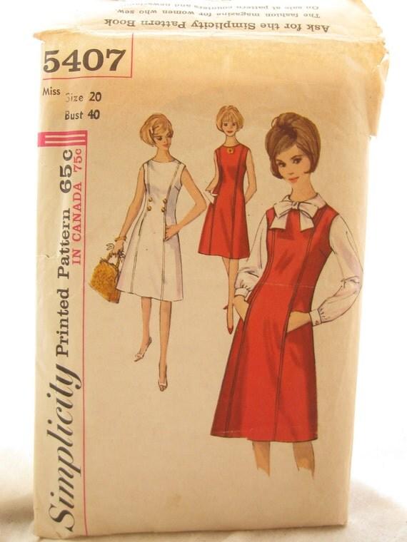 Simplicity 5407 1960s A Line Shift Dress Vintage Princess Seam Sewing Pattern Bust 40
